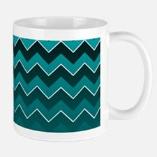 Teal Black Ombre Chevron Mugs