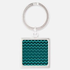 Teal Black Ombre Chevron Keychains