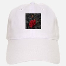 red rose in dark mourning death background car Baseball Baseball Cap