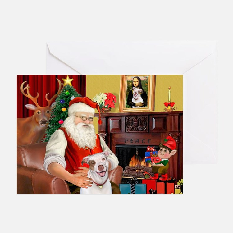 Santa's Pit Bull Greeting Cards (Pk of 20)