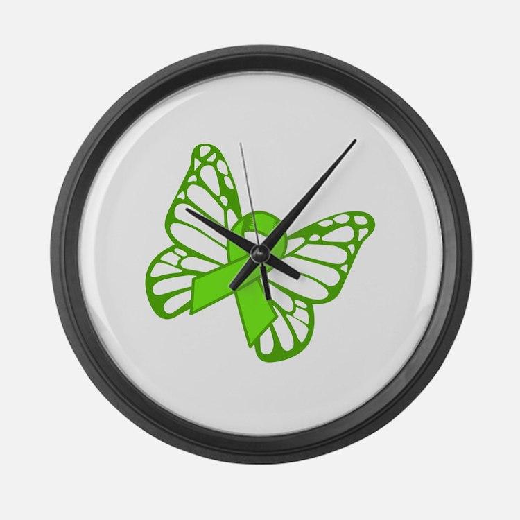 Lymphoma Butterfly Large Wall Clock