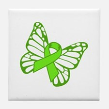 Lymphoma Butterfly Tile Coaster