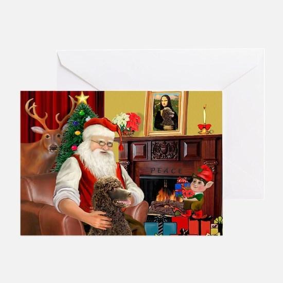 Santa's Std Poodle(c) Greeting Card