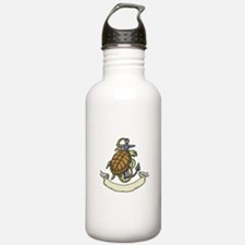 Ridley Sea Turtle on Anchor Drawing Water Bottle