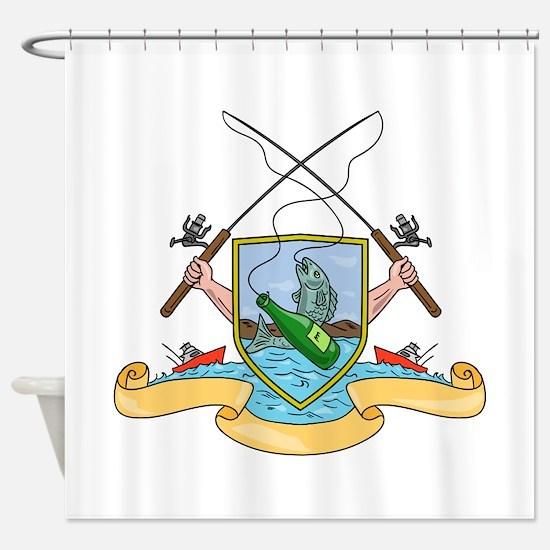 Fishing Rod Reel Hooking Fish Beer Bottle Coat of
