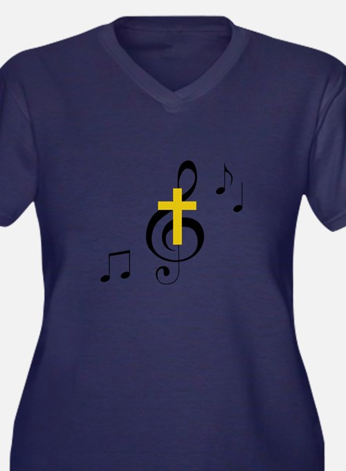 Treble Clef And Cross Plus Size T-Shirt