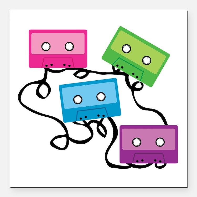 "Retro Broken Cassette Ta Square Car Magnet 3"" x 3"""
