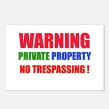 WARNING NO TRESPASSING ! Postcards (Package of 8)
