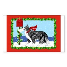 Border Collie Mail Rectangle Decal