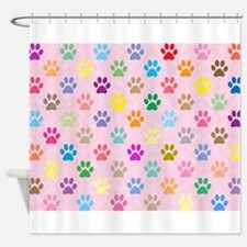 Colorful puppy paw prints Shower Curtain