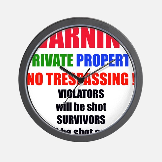 WARNING PRIVATE PROPERTY Wall Clock