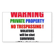 WARNING PRIVATE PROPERTY Rectangle Decal