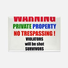 WARNING PRIVATE PROPERTY Rectangle Magnet