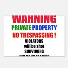 WARNING PRIVATE PROPERTY Postcards (Package of 8)