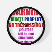WARNING NO TRESPASSING Wall Clock
