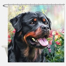 Rottweiler Painting Shower Curtain