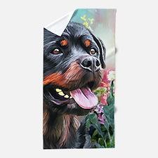 Rottweiler Painting Beach Towel