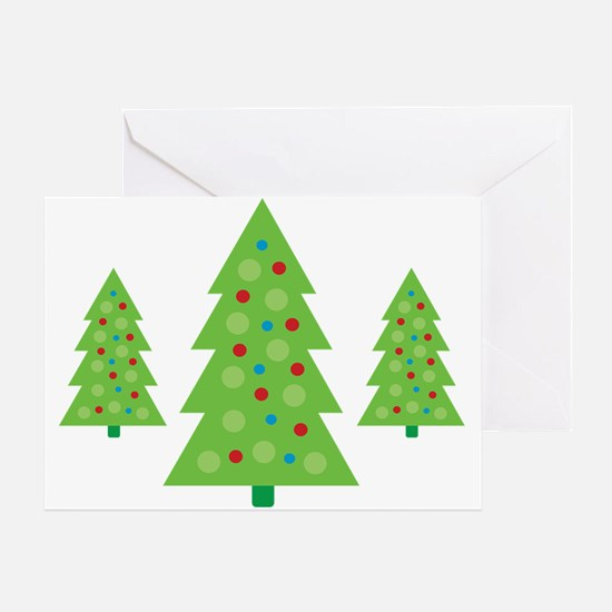 Modern Polka Dot Christmas Trees Greeting Card