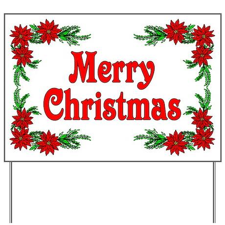 Nice Poinsettia Merry Christmas Yard Sign