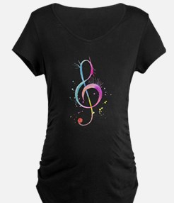 Watercolor Color Music Note Maternity T-Shirt