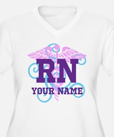RN swirl with personalized name Plus Size T-Shirt
