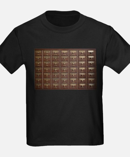Vintage Library Card Catalog Drawers T-Shirt