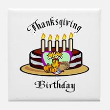 Thanksgiving Birthday Tile Coaster