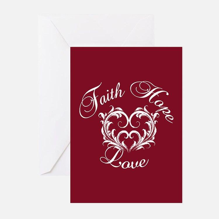 Faith Hope Love Heart Greeting Cards