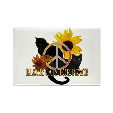 Black Cats for Peace Rectangle Magnet (100 pack)