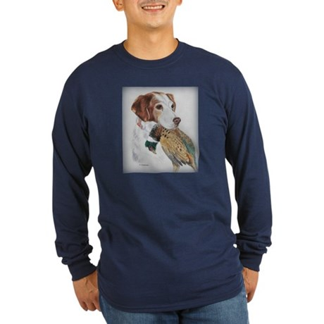 Am Brittany w/Pheasant Long Sleeve Dark T-Shirt