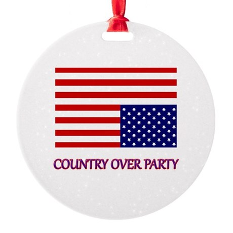 COUNTRY OVER PARTY - FLAG IN DISTRE Round Ornament