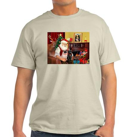 Santa's Two Pugs (P1) Light T-Shirt