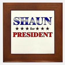 SHAUN for president Framed Tile