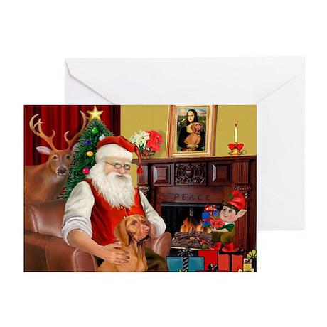 Santa's Vizsla Greeting Cards (Pk of 10)