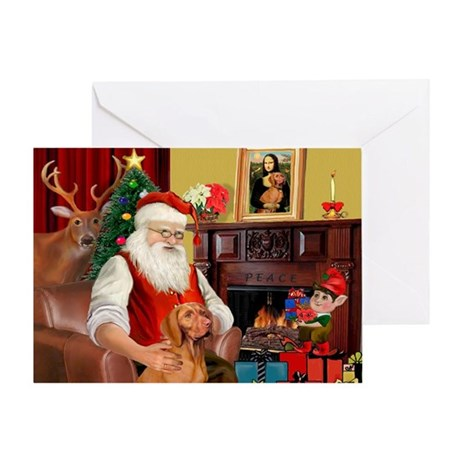 Santa's Vizsla Greeting Card