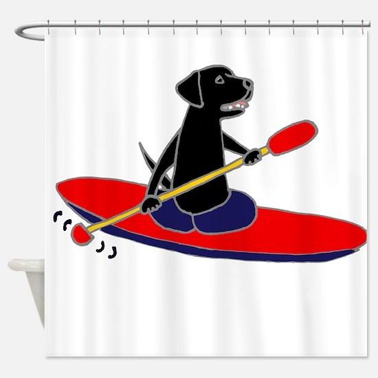 Kayaking Dog Shower Curtain