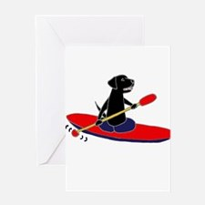 Kayaking Dog Greeting Cards