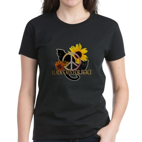 Black Cats for Peace Women's Dark T-Shirt