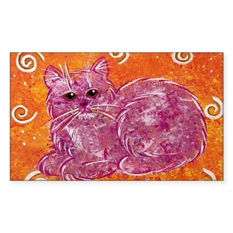 Pink Kitty Rectangle Sticker