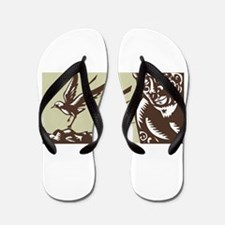 Tagaloa Looking at Plover Bird Woodcut Flip Flops