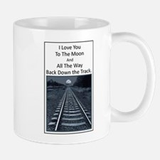 Love you to the Moon and back down the Track Mugs