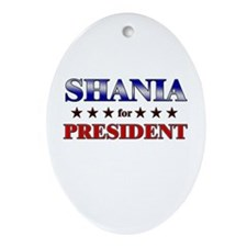 SHANIA for president Oval Ornament