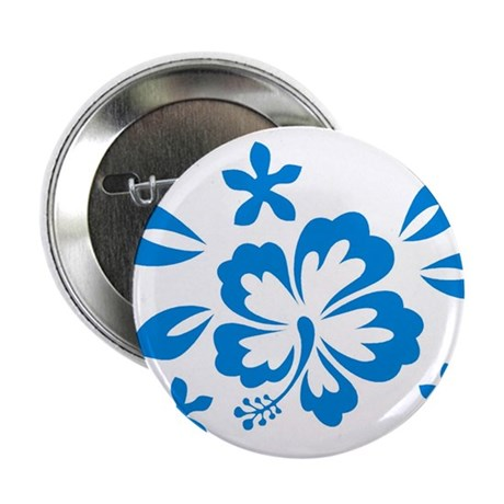"""Hibiscus turquoise 2.25"""" Button"""