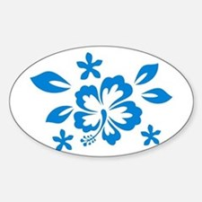 Hibiscus turquoise Oval Decal