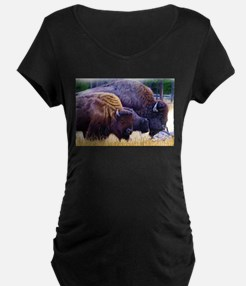 American Bison Family Maternity T-Shirt