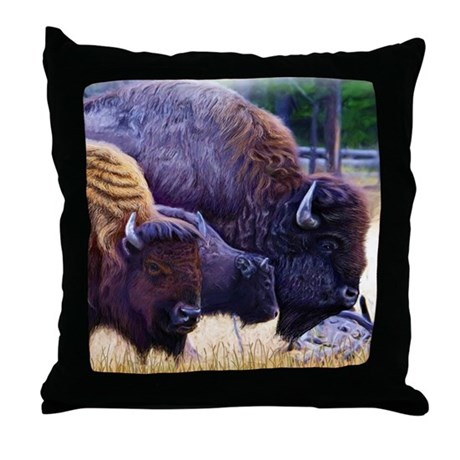 American Bison Family Throw Pillow