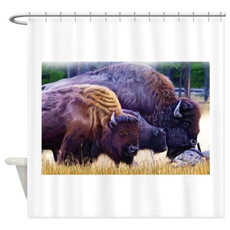 American Bison Family Shower Curtain