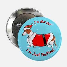 """Red Piebald Santa 2.25"""" Button"""