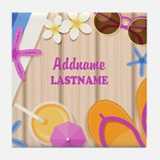 Personalized Summer Girly Tile Coaster
