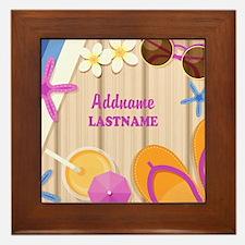 Personalized Summer Girly Framed Tile